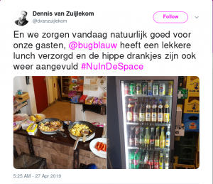 En we zorgen vandaag natuurlijk goed voor onze gasten, @bugblauw heeft een lekkere lunch verzorgd en de hippe drankjes zijn ook weer aangevuld #NuInDeSpace